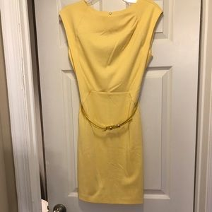 The Limited Yellow Belted Shift Dress